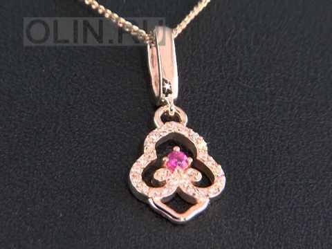 Рубиновая подвеска из золота с бриллиантами