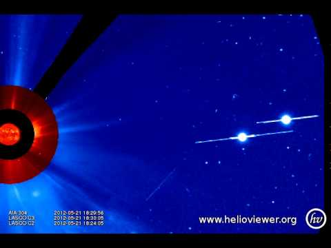 Mercury and Jupiter AIA 304, LASCO C2/C3 (2012-05-21 13:20:20 - 2012-05-22 01:16:56 UTC)