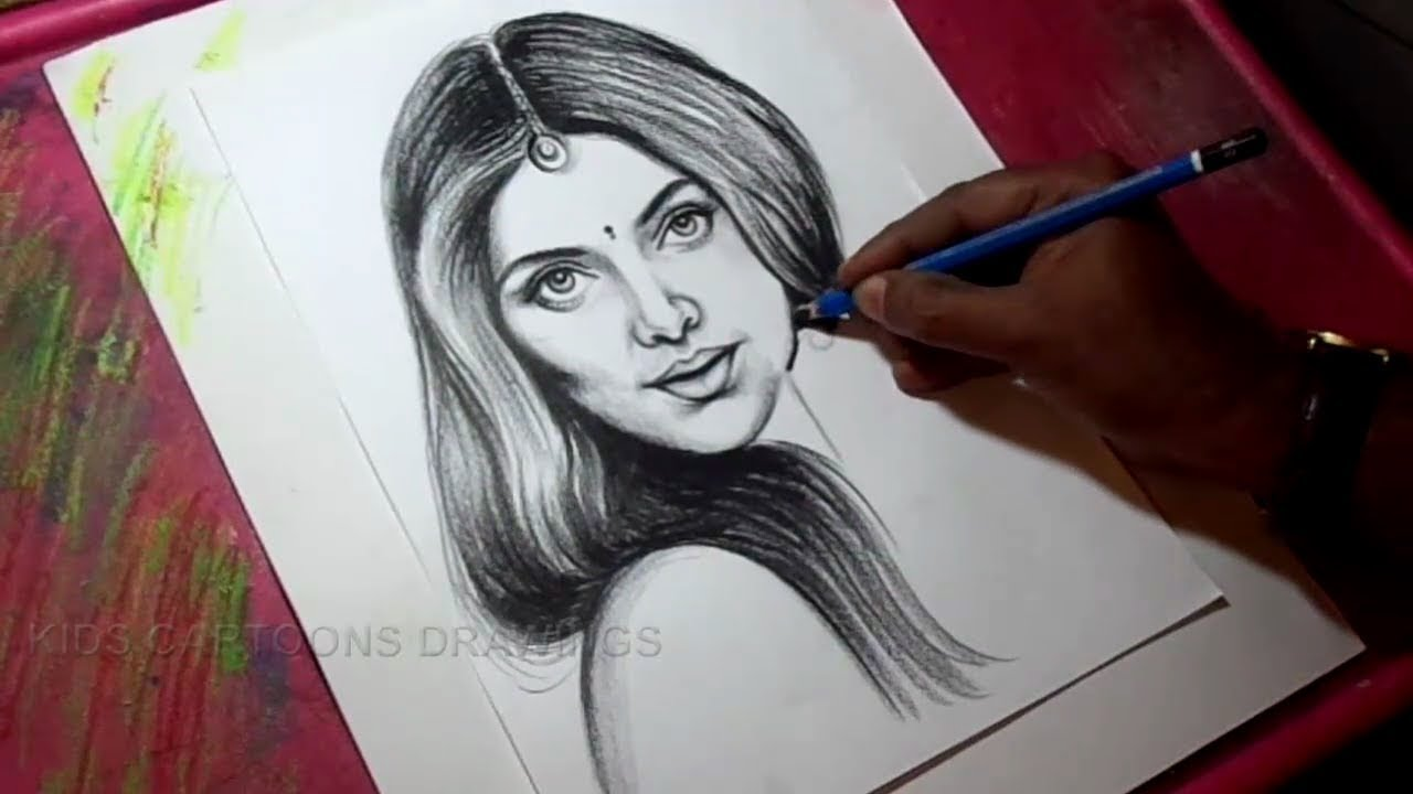 How to draw pencil portrait of a women with detail drawing