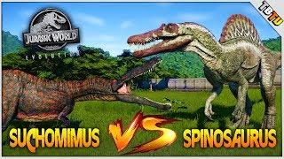SPINOSAURUS VS SUCHOMIMUS DINOSAUR BATTLE! Jurassic World Evolution Dino Battle Park E8