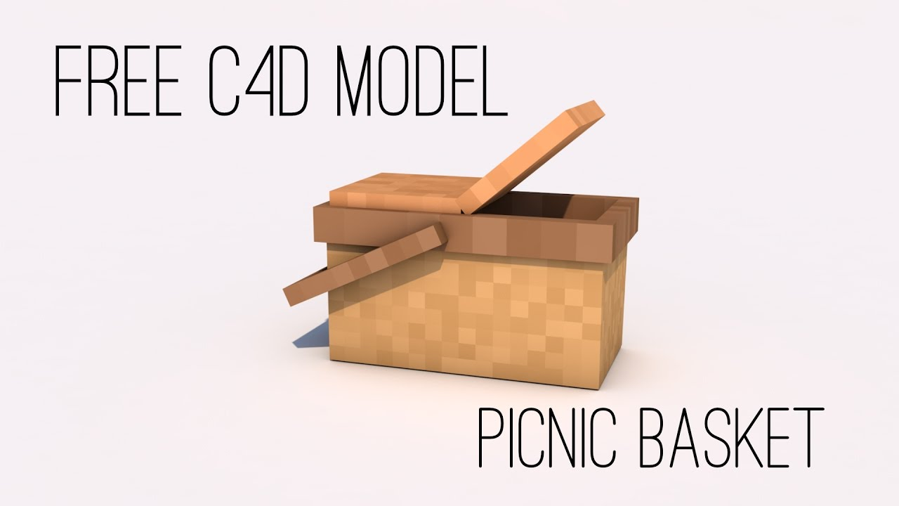 Free Minecraft C4D 3D Model - Picnic Basket by Farlands