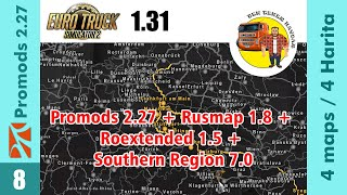 Promods 2.27 + Rusmap 1.8 + Roextended 1.5 + Southern Region 7.0 Big map combination for ETS2 1.31 ✅