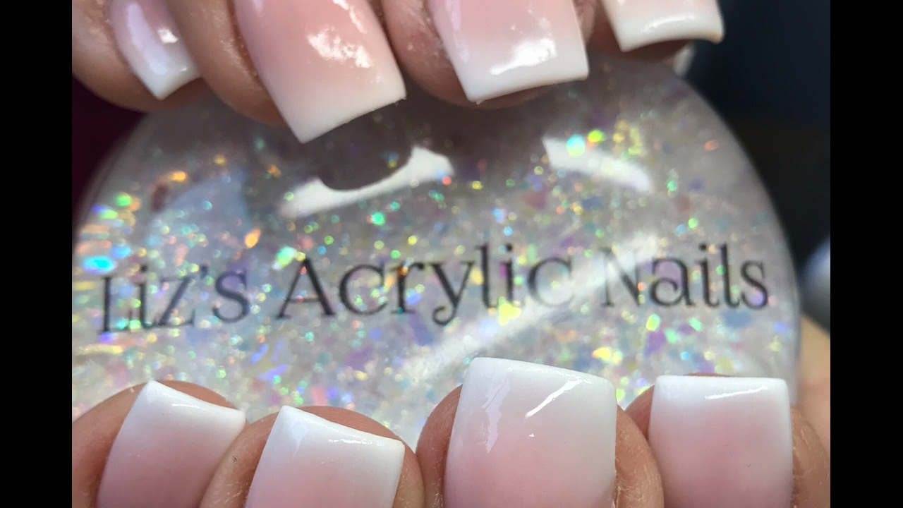 Acrylic Nails Pink And White Ombre Youtube