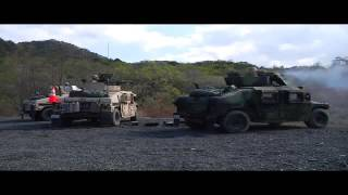 Humvee Show Off Tow Missile/.50 cal and Mk19 HMMWV Version Firing Side by Side