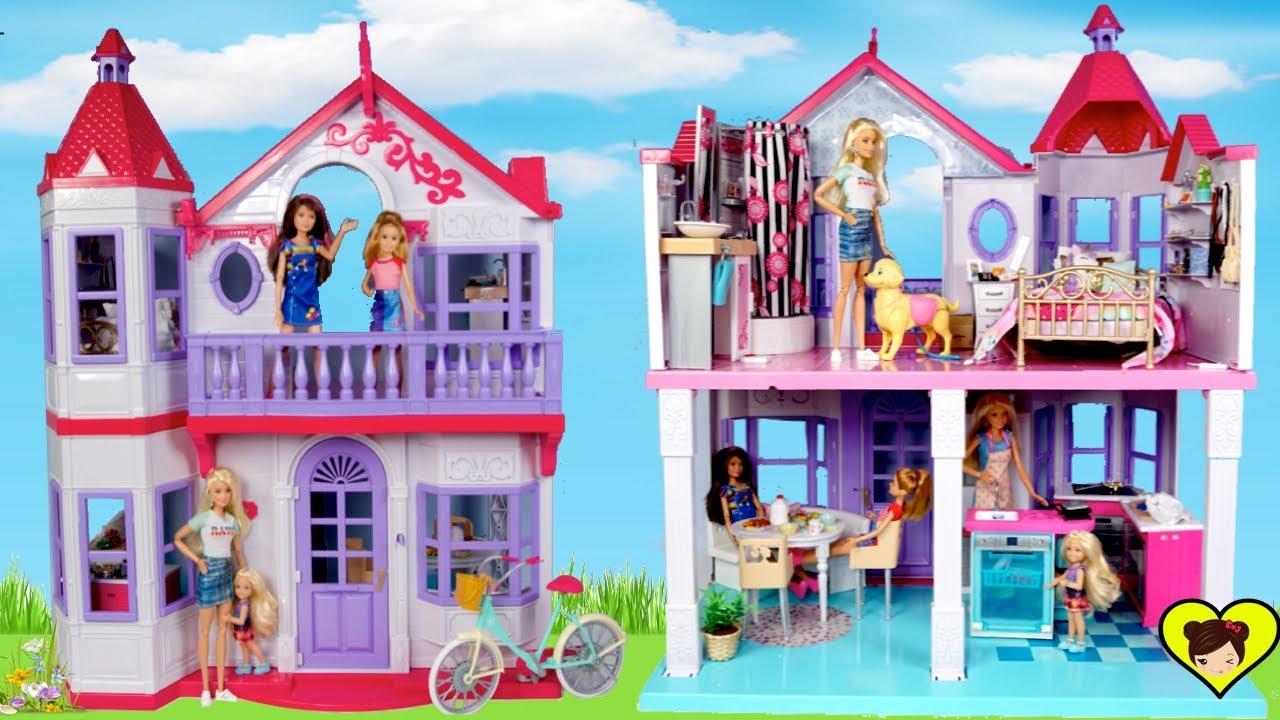Jugando Con Nueva Casa De Muñecas Barbie Con Baño Cocina Y Balcon Youtube