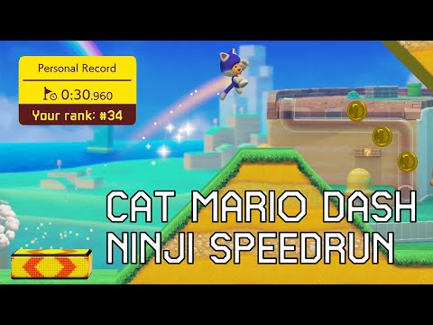 30.960 Seconds on Ninji Speedrun Cat Mario Dash Using World Record Strategies | Super Mario Maker 2