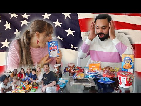 ME AND MY INDIAN HUSBAND TRYING AMERICAN SNACKS FOR THE FIRST TIME | MUKBANG WITH THE MILLER FAM - The Modern Singhs