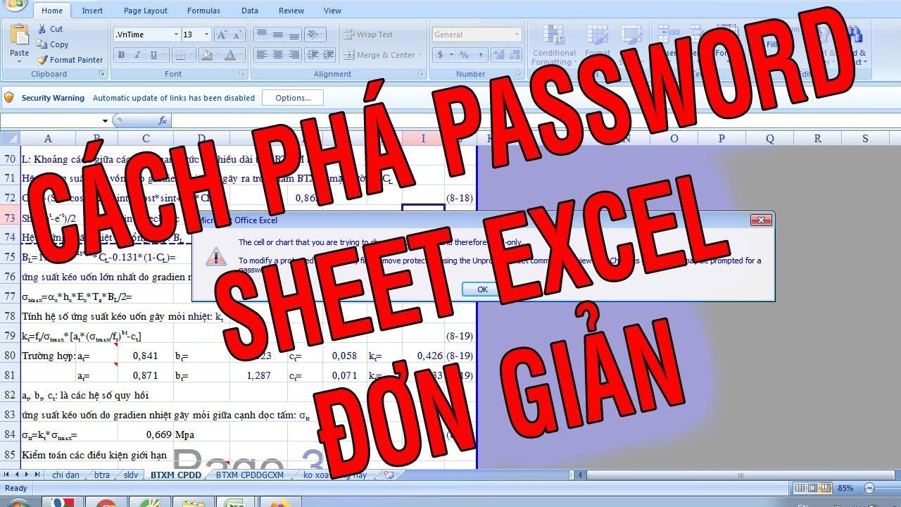 Cách phá password sheet file excel| Cách phá pass excel| Cách phá Password Excel không cần phần mềm
