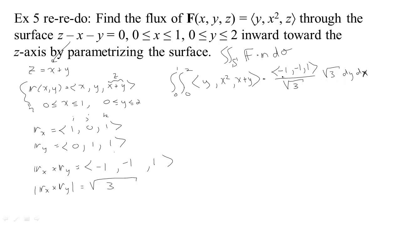 si-7- a flux integral for a parametric surface