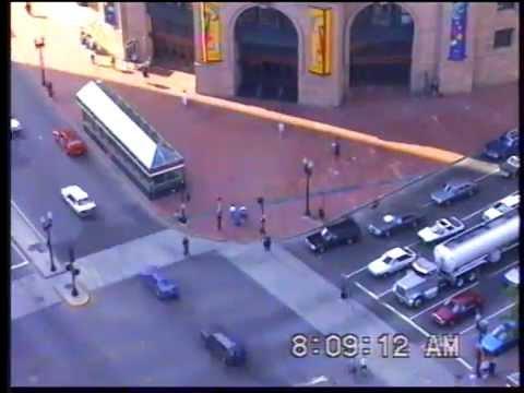 South Station, Dewey Square 1993 time-lapse rush-hour Pedestrians
