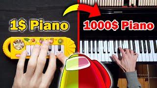 AMONG US SOUNDS - 1$ Piano vs 1000$ Piano