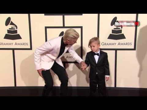 Justin Bieber, Jaxon Bieber arrive at 58th Annual Grammy Awards Red carpet