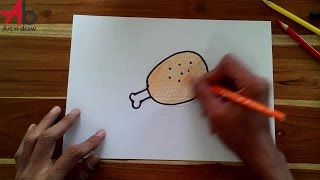 How To Draw Fried Chicken step by step