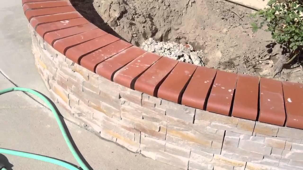 Backyard Stone And Brick Cap Work
