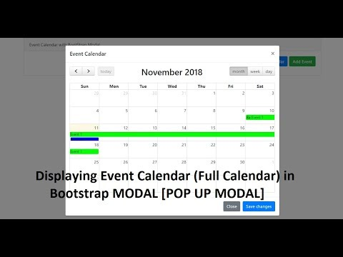 Event Calendar To Display In BootStrap Modal [Full Calendar]
