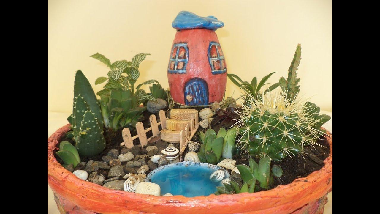 Pembe Dağ Evi Minyatür Bahçe Teraryum Nasıl Yapılır Youtube