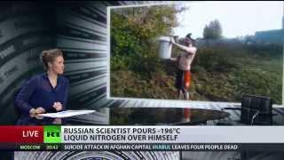 Liquid Nitrogen Challenge: scientist pours a bucket full over his head