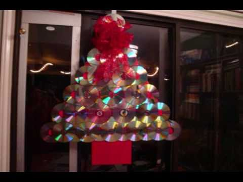 how to make a christmas tree door decoration with old compact discs