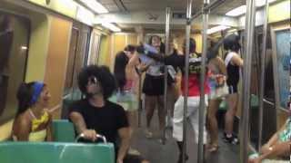 Carnival crowd dancing in Rio metro