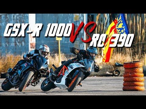 MOTO DRIFT BATTLE - KTM RC 390 vs. GSX-R 1000 | RokON VLOG #48