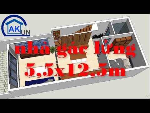 Thiết kế nhà gác lửng 5,5×12,5m 03 phòng ngủ I P1 – Nhà đẹp Dakcun