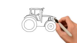 how to draw a tractor for kids