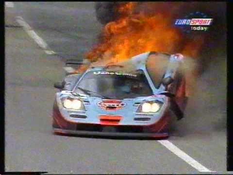 Mclaren F1 Gtr Burns At Le Mans 1997 Mpg Youtube