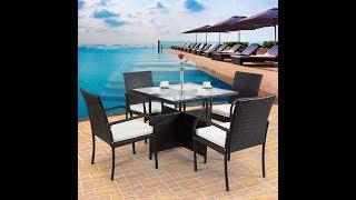 5 pcs Patio Dining Table Set Rattan Wicker Furniture Set Outdoor Furniture