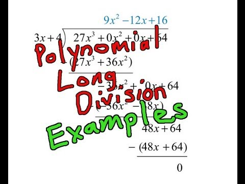 Polynomial Long Division Examples Youtube