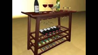 Wine Rack Table Bottles Cups And Grapes 3d Model From Cgtrader.com