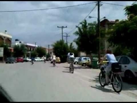 Cycling in Kalloni village.