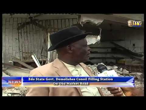 Edo State Govt. Demolishes Conoil Filling Station On Oba Market Road