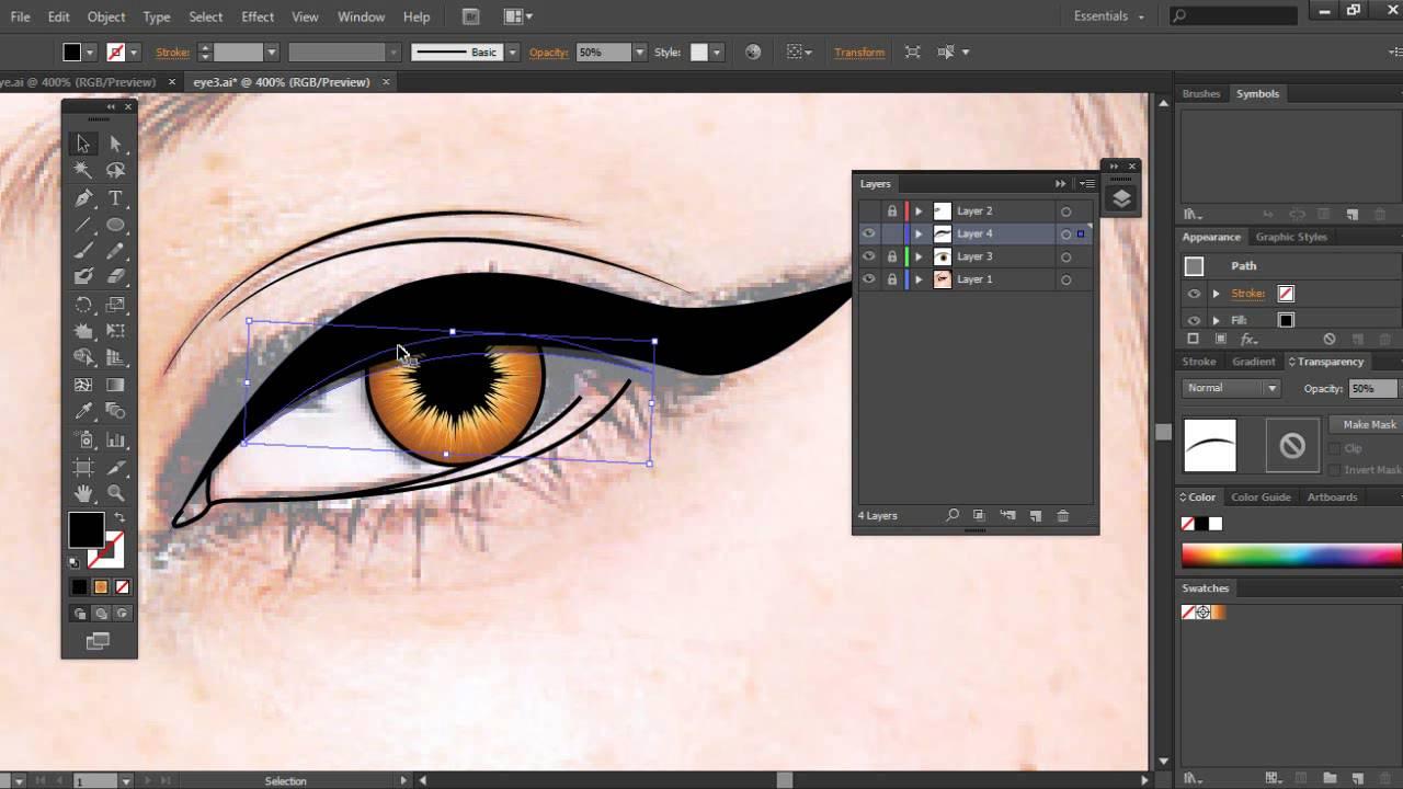 Illustrator Tutorial - How to Create a Vector Eye - YouTube