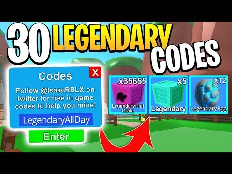 OPENING 30 LEGENDARY CODES IN ROBLOX MINING SIMULATOR