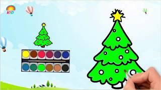 Bé Tập Vẽ Và Tô Màu Cây Thông | Có Hình Tải Về | How to Draw and Color Pine Youtube Videos for Kids.