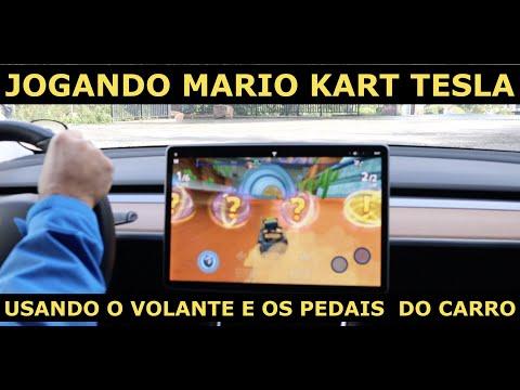 #MARIO KART #GAMES #TESLA JOGANDO VIDEO GAME NO TESLA MODEL 3 USANDO O VOLANTE E PEDAIS DE CONTROLE