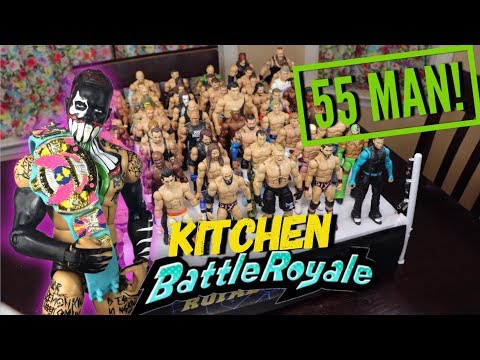 55 MAN WWE FIGURE BATTLE ROYAL! KITCHEN EDITION!