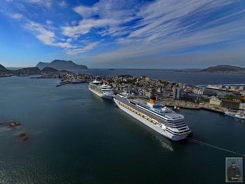 Costa Pacifica & Navigator of the Sea At Port, Aalesund, Norway - 3th June 2016
