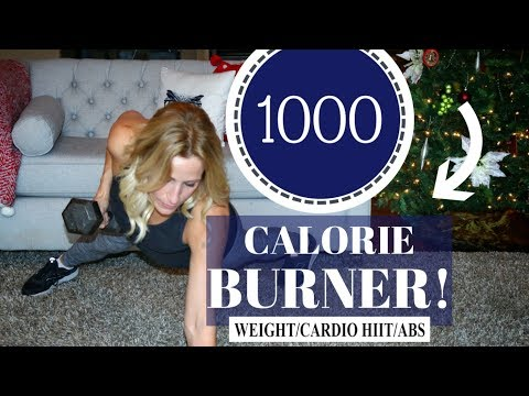 1000 Calorie HIIT Workout - Cardio, Weights and Abs At Home Workout!