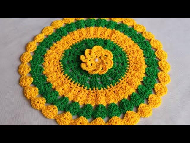 WOW !!! Woolen rumal Design || Woolen Crochet || Woolen Flower Making || Woolen Crafts || Table Mat