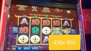 5 DRAGONS DELUXE* MAX BET* DOUBLE RETRIGGER FEATURE* BIG WIN! MYSTERY CHOICE.