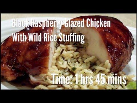 black raspberry glazed chicken with wild rice stuffing