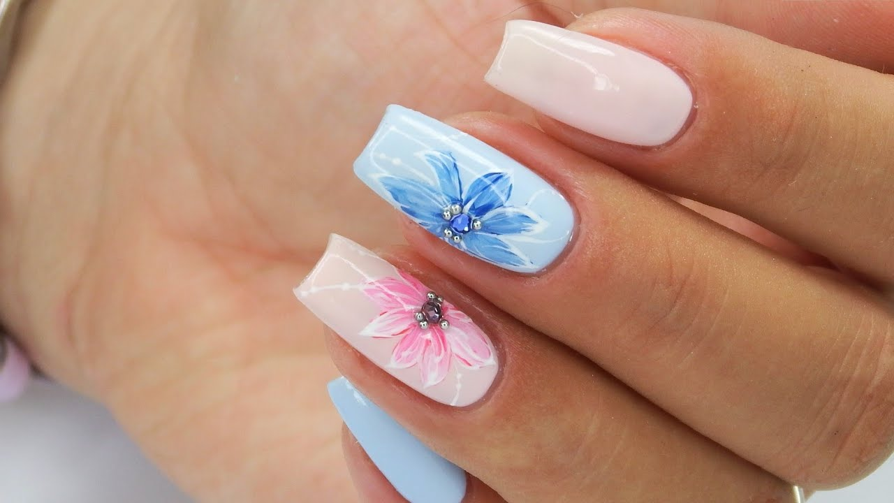 Blue And Pink Nails Art Tutorial Step By Step Bluesky Pastelnails