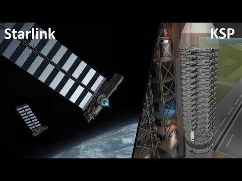 KSP - SpaceX's 60 Starlink Satellites - Pure Stock Replicas