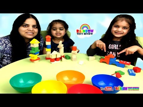 Babies Learn Colors, Shapes, Counting with Wooden Blocks Fun Learning Activity for Kids, Children