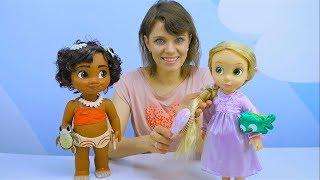 Куклы для девочек - Рапунцель Дисней Аниматорс и Моана с Барби - Детское видео про куклы