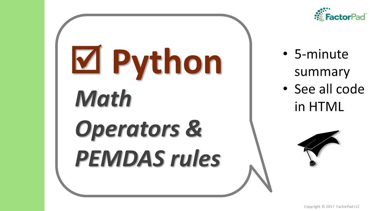 worksheet Pemdas math symbols and pemdas rules in python youtube python