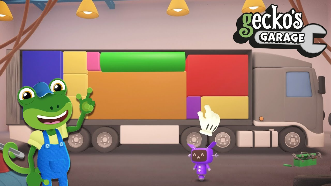 Overstuffed Larry The Lorry | Learn Shapes For Kids | Educational Videos | Gecko's BIG Trucks