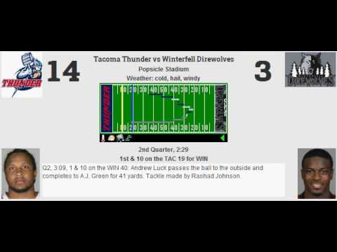 Week 11: Tacoma Thunder (6-4) @ Winterfell Direwolves (3-7)
