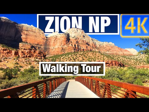 4K City Walks: Zion NP Utah Pa'rus River Trail Virtual Walk Walking Treadmill Video free tour
